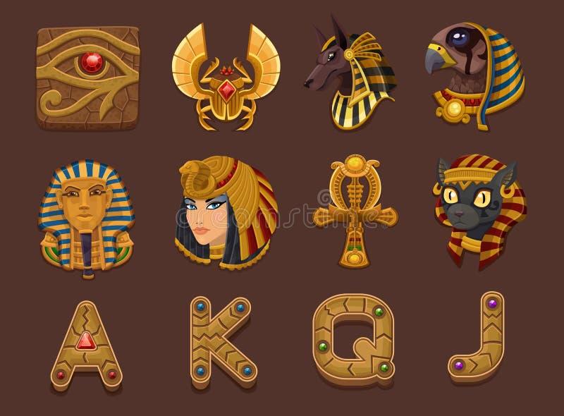 Símbolos para el juego de las ranuras stock de ilustración