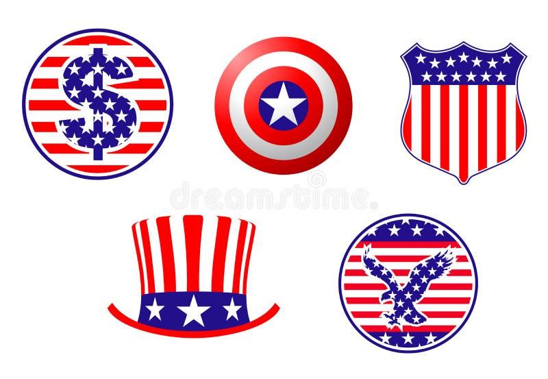 Símbolos patrióticos americanos ilustração stock