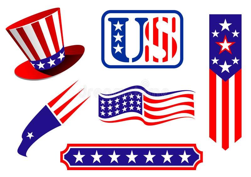 Símbolos patrióticos americanos ilustração do vetor