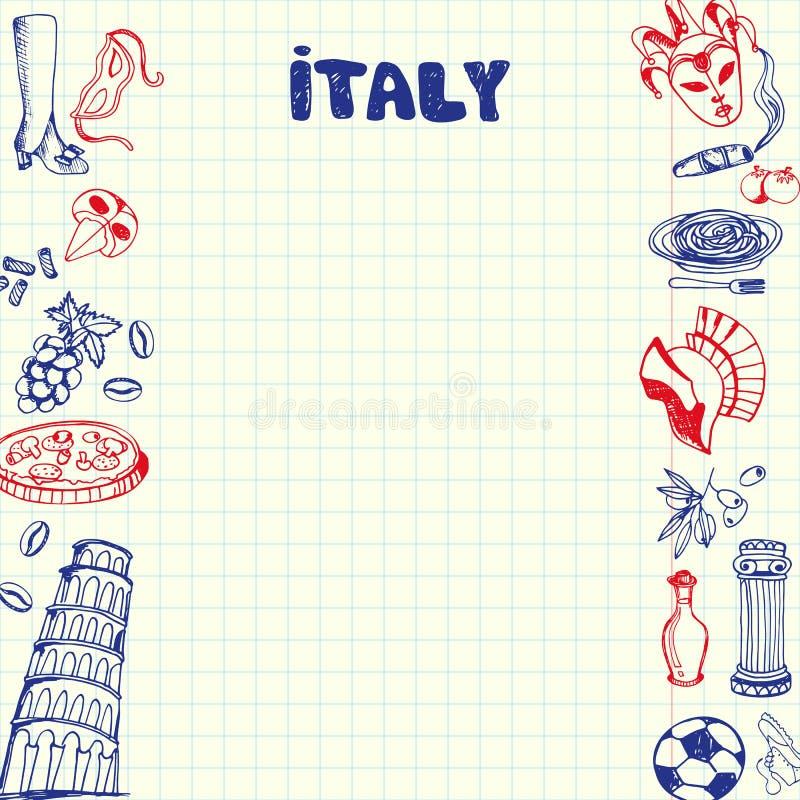 Símbolos Pen Drawn Doodles Vetora Collection de Itália ilustração stock