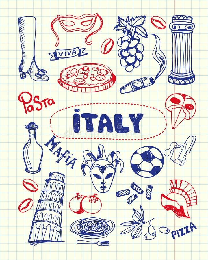 Símbolos Pen Drawn Doodles Vetora Collection de Itália ilustração do vetor