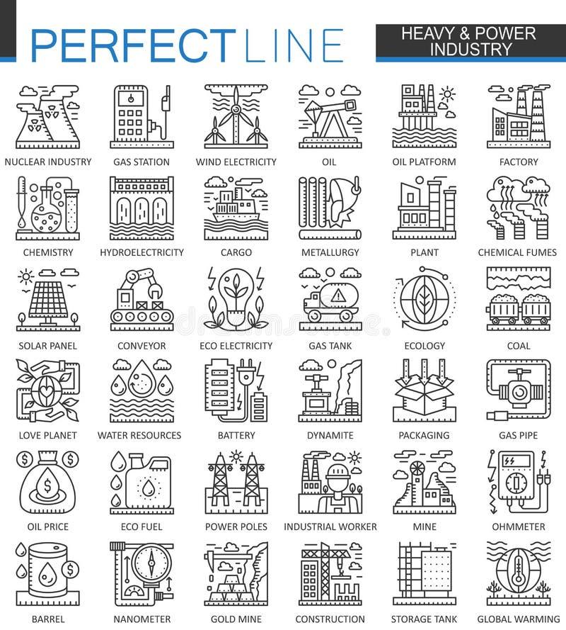 Símbolos pesados del concepto del esquema de la industria de poder Ejemplos lineares del estilo del movimiento moderno de la fábr stock de ilustración