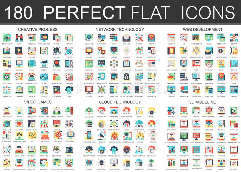 180 símbolos planos complejos del concepto de los iconos del vector del proceso creativo, tecnología de red, desarrollo web, vide stock de ilustración