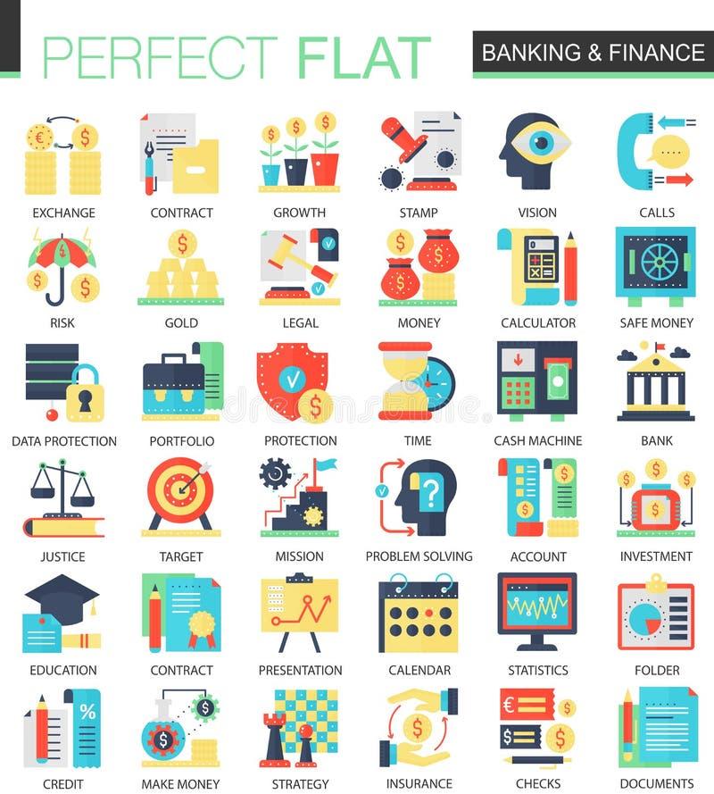 Símbolos planos complejos del concepto del icono del vector de la actividad bancaria y de las finanzas para el diseño infographic libre illustration