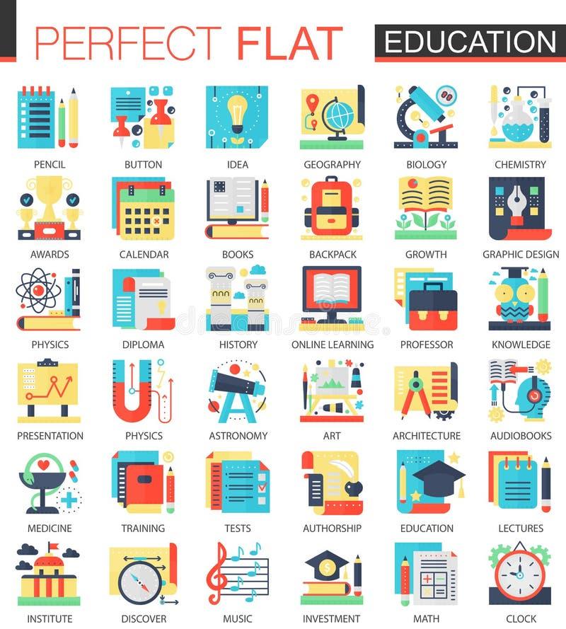 Símbolos planos complejos del concepto del icono del vector de la educación para el diseño infographic del web ilustración del vector