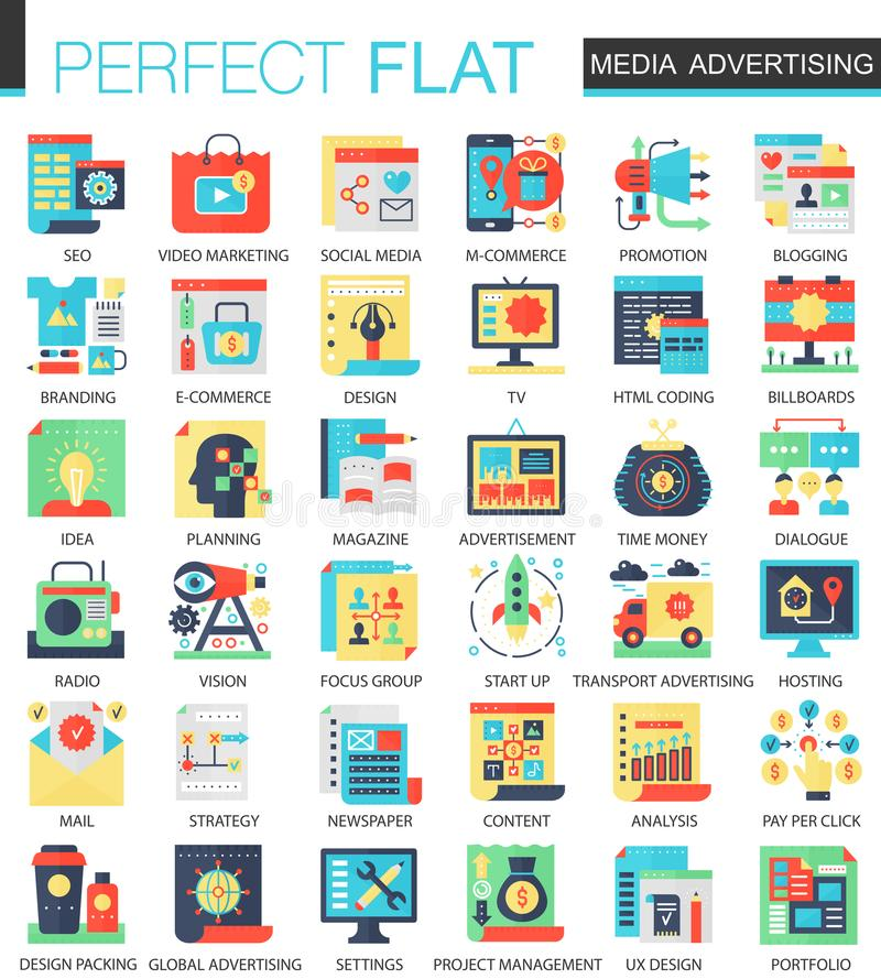 Símbolos planos complejos del concepto del icono del vector de la medios publicidad para el diseño infographic del web libre illustration