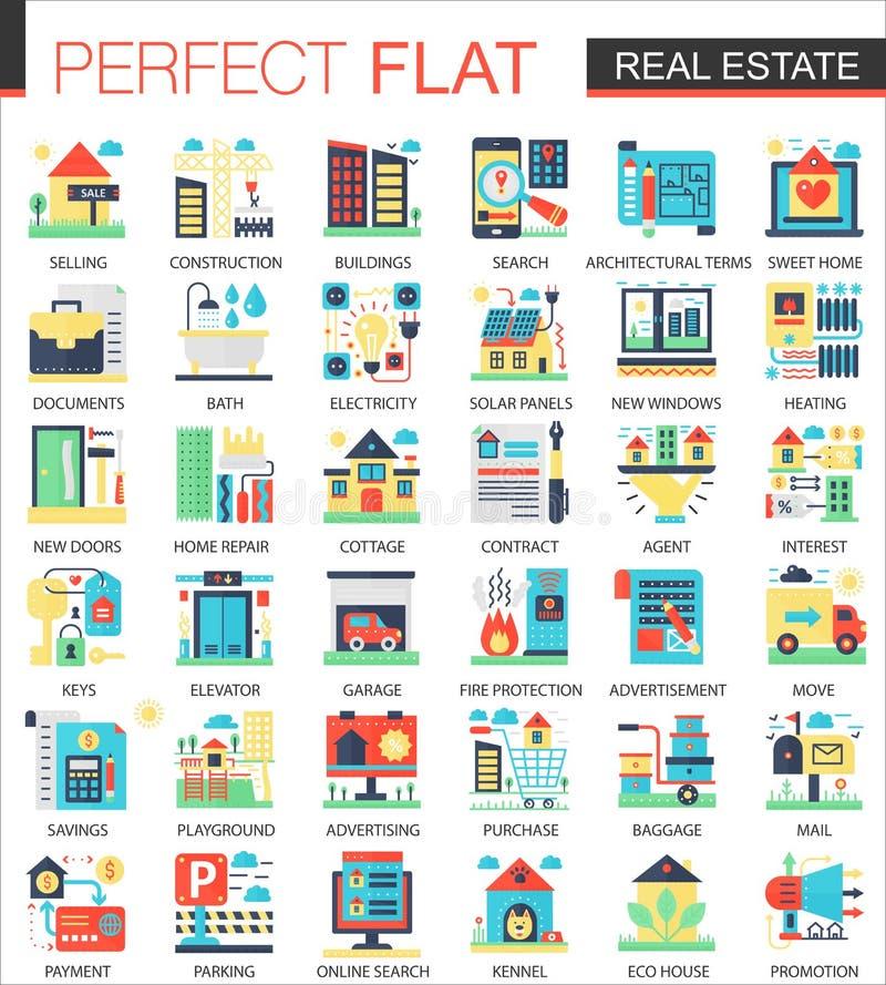 Símbolos planos complejos del concepto del icono del vector de las propiedades inmobiliarias para el diseño infographic del web ilustración del vector