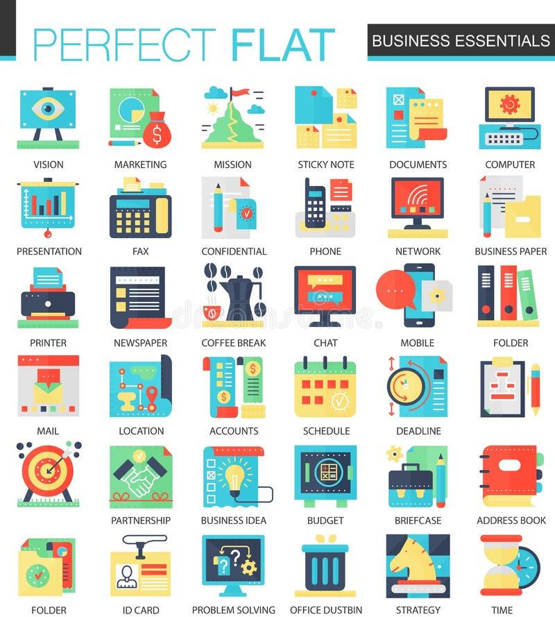 Símbolos planos complejos del concepto del icono del vector esencial del negocio para el diseño infographic del web libre illustration