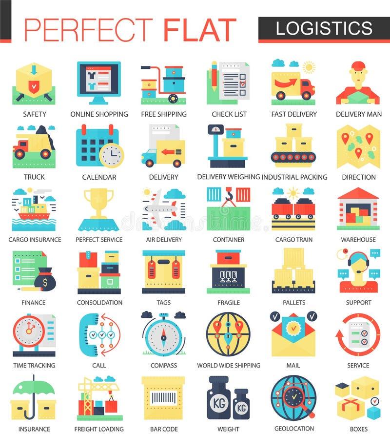 Símbolos planos complejos del concepto del icono del vector del transporte de la logística para el diseño infographic del web libre illustration