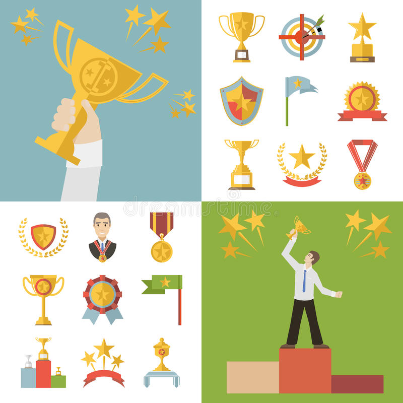 Símbolos planos de los premios del diseño y ejemplo fijado iconos del vector del trofeo stock de ilustración