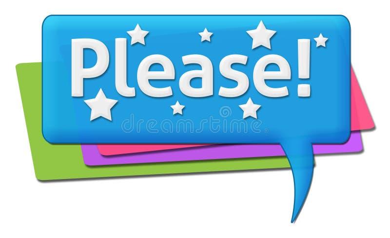 Símbolos por favor coloridos de los comentarios stock de ilustración