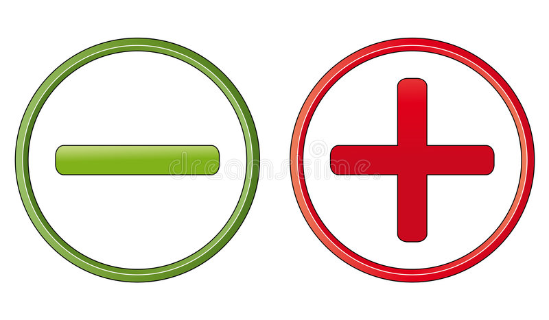 Símbolos positivos y negativos libre illustration