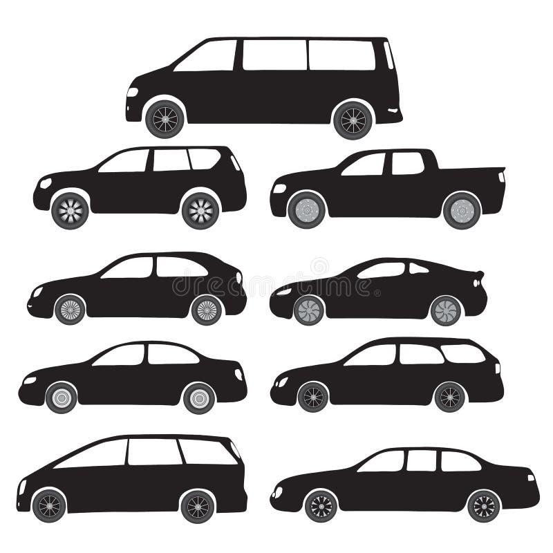 Símbolos pretos - carros dos desenhos animados imagens de stock royalty free