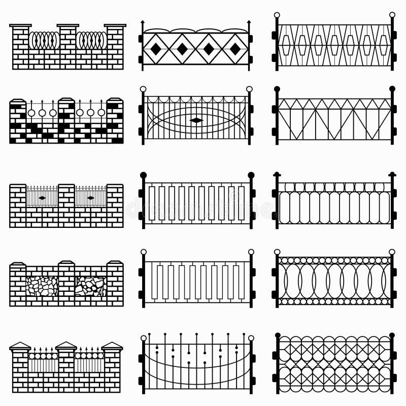 Símbolos pretos da cerca ilustração royalty free