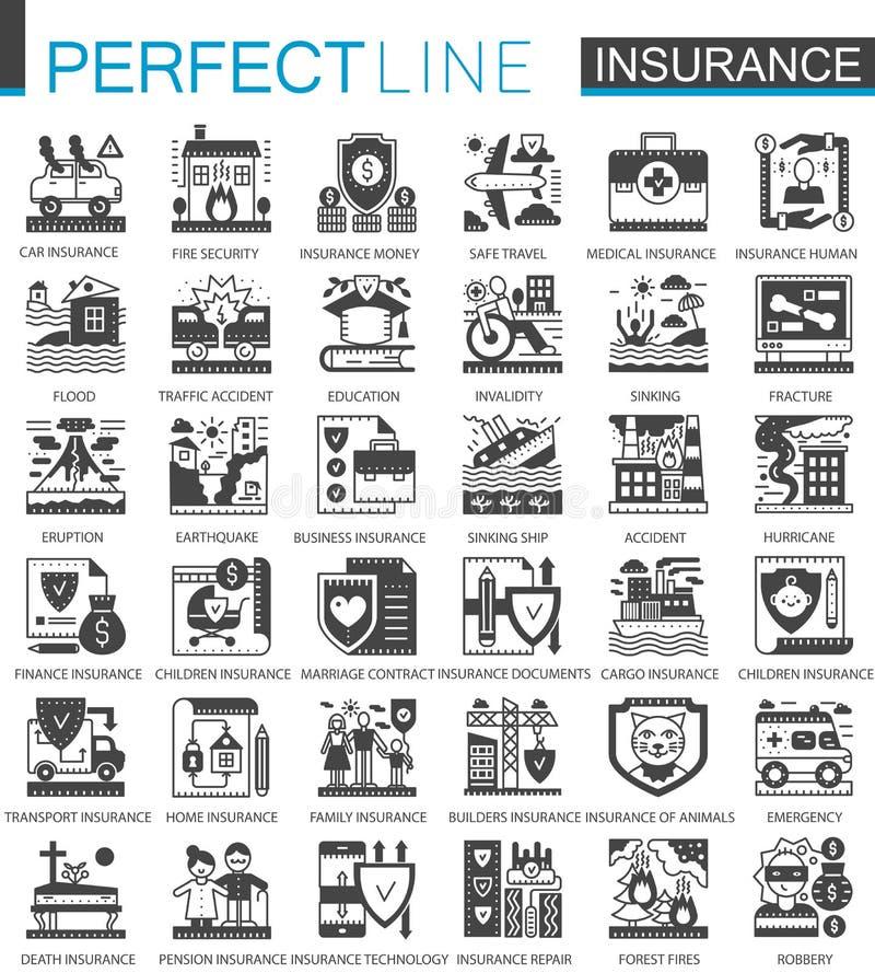 Símbolos pretos do conceito do seguro mini Ilustrações modernas do vetor do pictograma do ícone da proteção do acidente ajustadas ilustração royalty free