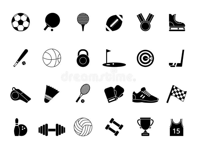Símbolos pretos monocromáticos do esporte Imagens do vetor ajustadas ilustração royalty free