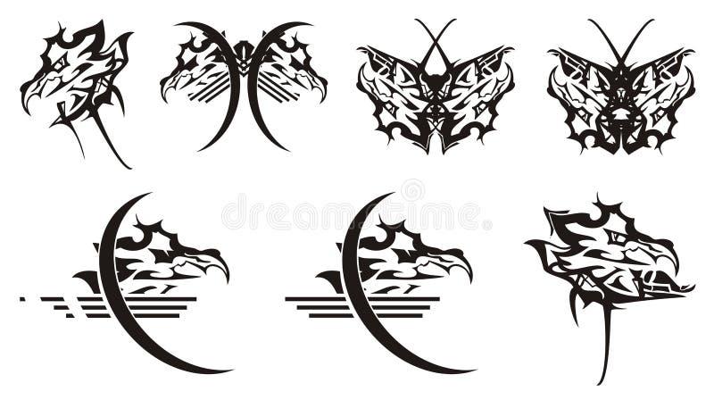 Símbolos principais e borboletas do dragão dele ilustração do vetor