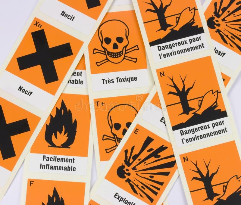 Símbolos químicos franceses do perigo foto de stock royalty free
