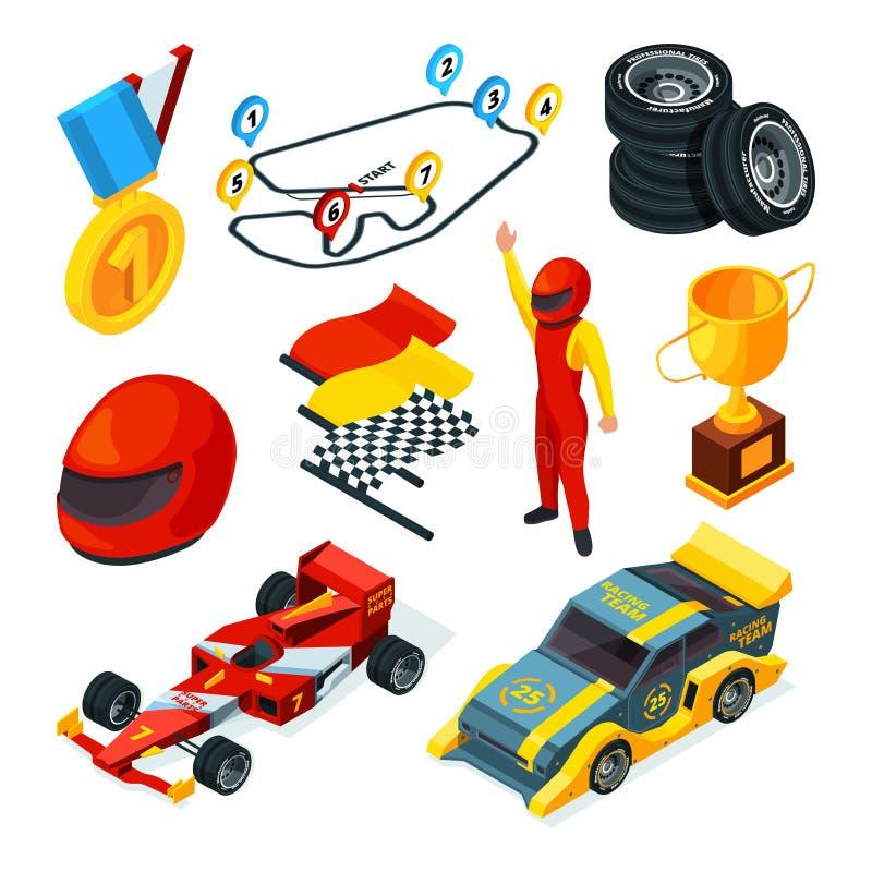 Símbolos que compiten con del deporte Imágenes isométricas de los coches de competición y de los símbolos de la fórmula 1 ilustración del vector