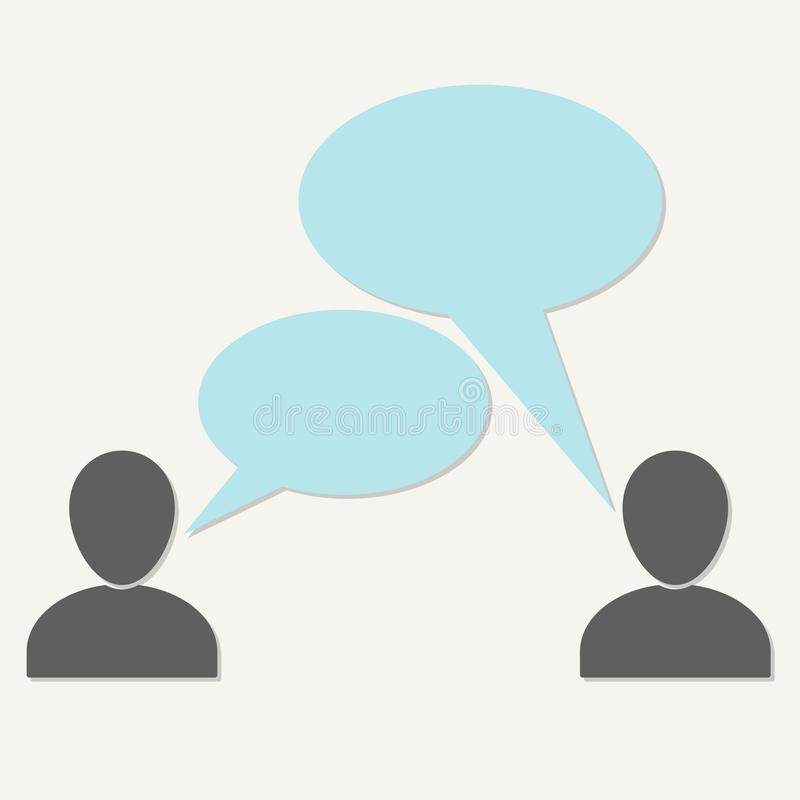 Símbolos que hablan de la gente aislados en el fondo blanco Icono o muestra con las burbujas del discurso y espacio de la comunic libre illustration