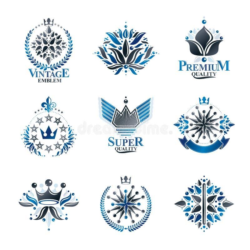 Símbolos reales, flores, floral y coronas, emblemas fijados Colección heráldica de los elementos del diseño del vector Etiqueta r stock de ilustración