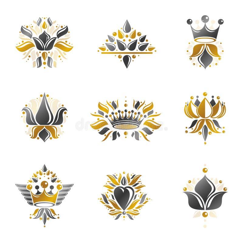 Símbolos reales, flores, floral y coronas, emblemas fijados heraldic libre illustration