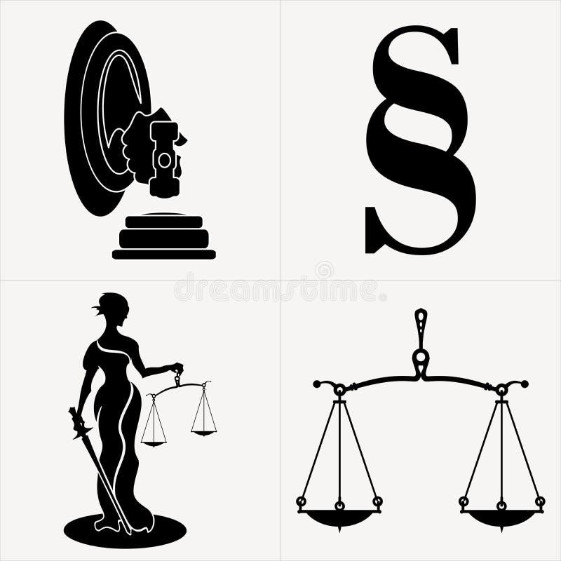 Símbolos relacionados de la ley foto de archivo
