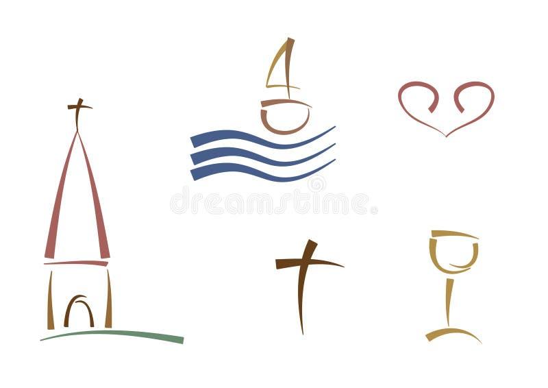Símbolos religiosos abstractos ilustración del vector