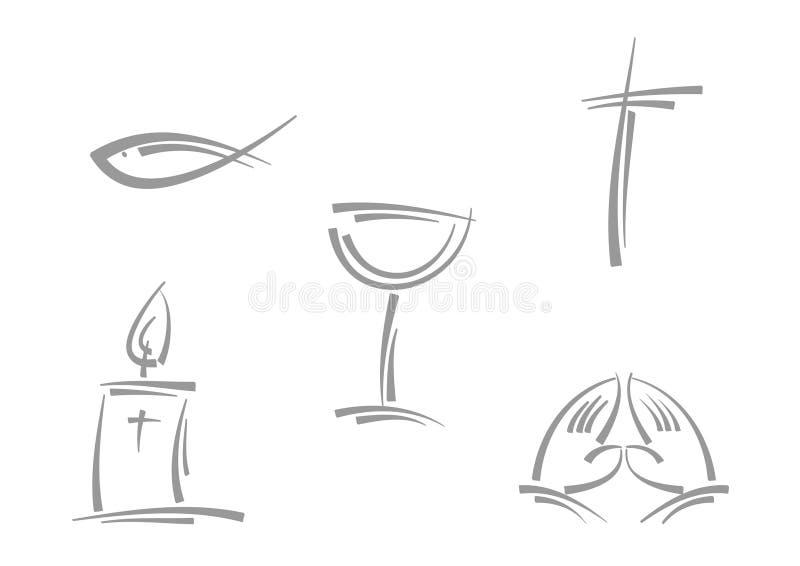 Símbolos religiosos abstractos stock de ilustración