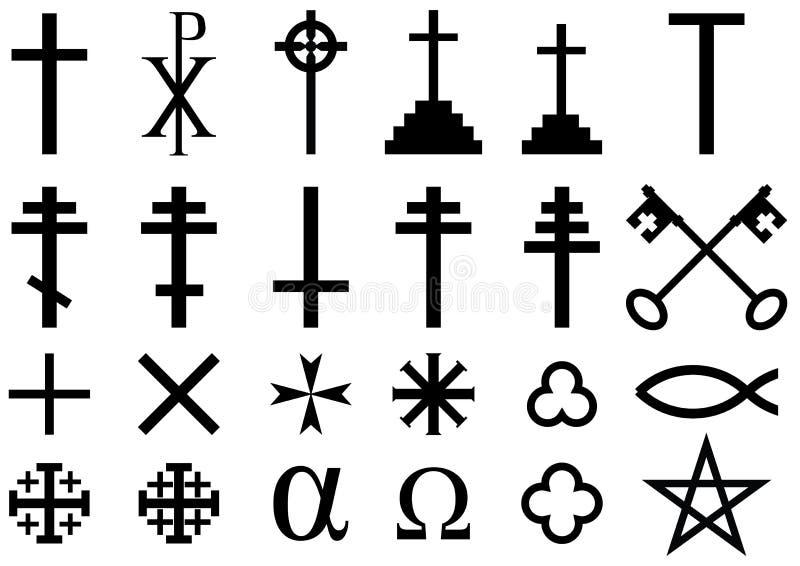 Símbolos religiosos cristãos ilustração royalty free