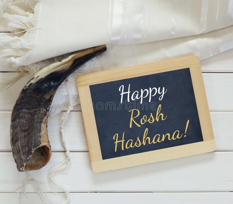 Símbolos religiosos do hashanah de Rosh (feriado judaico do ano novo) fotos de stock