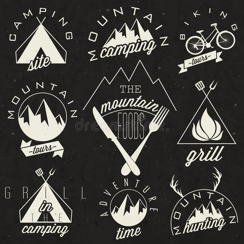 Símbolos retros do estilo do vintage para a montanha Expeditio ilustração stock