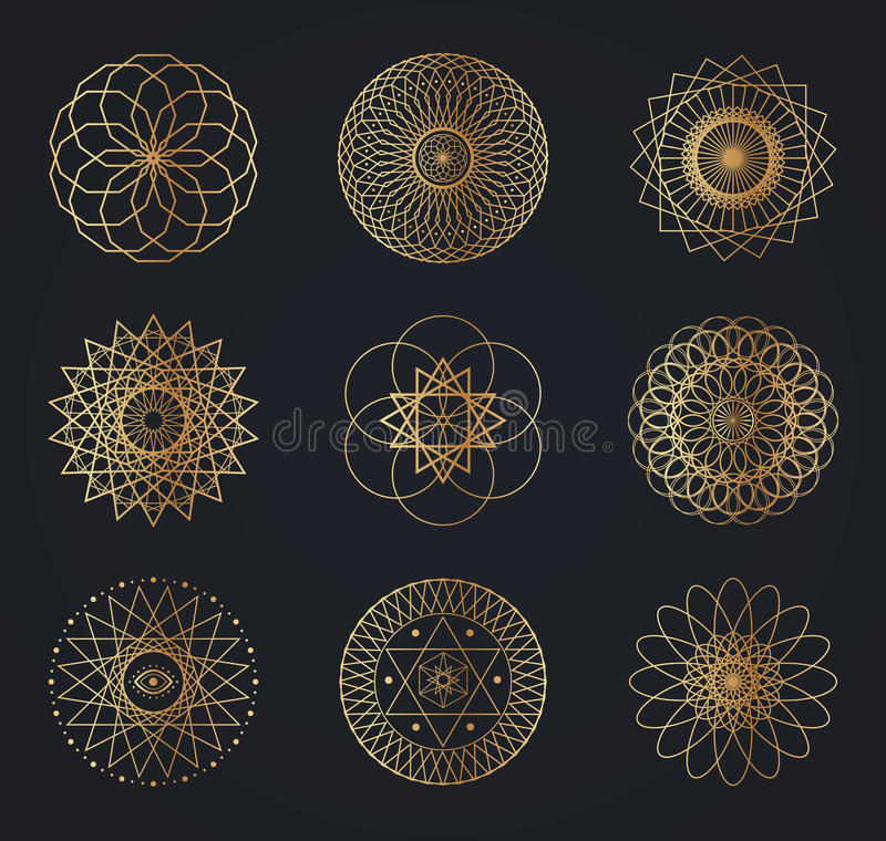 Símbolos sagrados da geometria ilustração do vetor