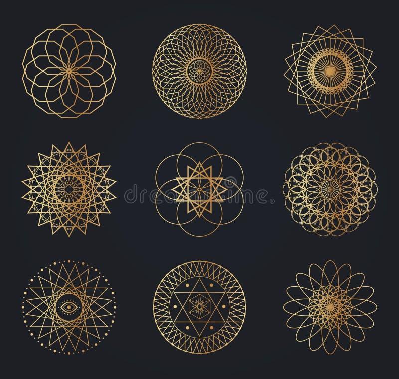 Símbolos sagrados de la geometría ilustración del vector