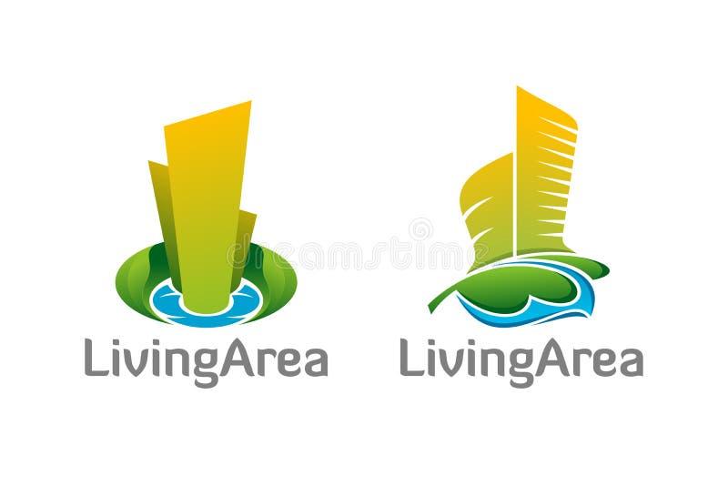 Símbolos saudáveis dos logotipos do vetor da área habitável ilustração stock