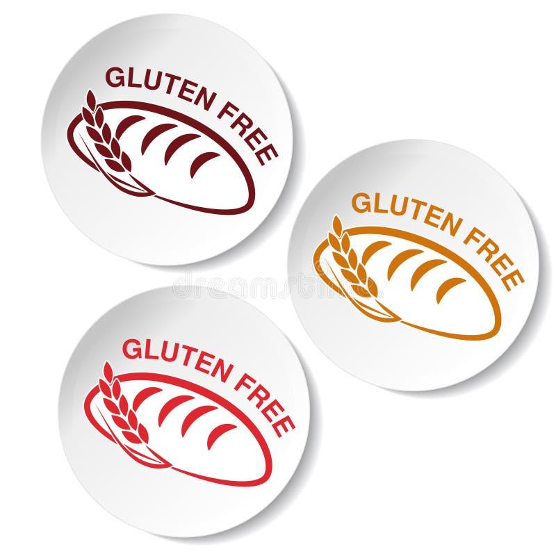 Símbolos sem glúten no fundo branco Etiquetas circulares com as silhuetas do pão com spikelet ilustração do vetor