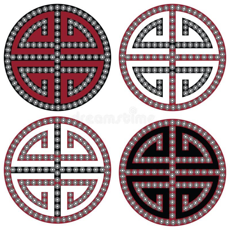 Símbolos simétricos coreanos orientales tradicionales del zen en negro, blanco y rojo con la moda del elemento de los diamantes y stock de ilustración