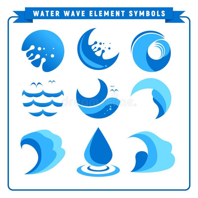 Símbolos simples do elemento da onda de água ilustração royalty free