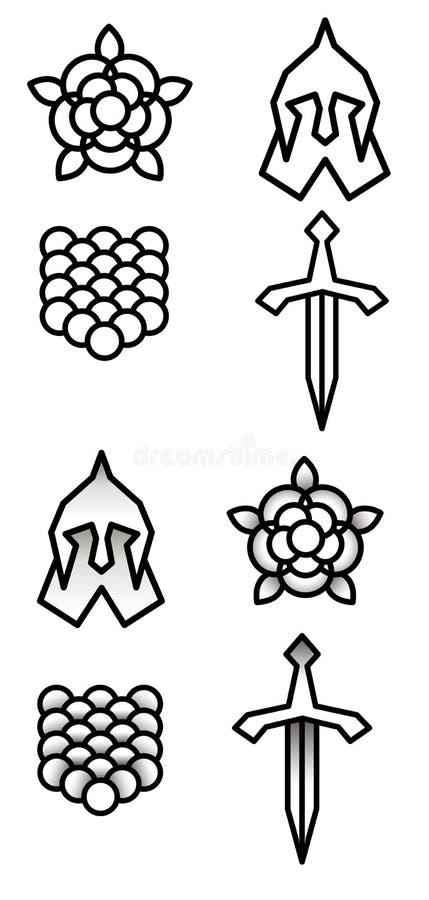 Símbolos simples e monocromáticos ilustração stock