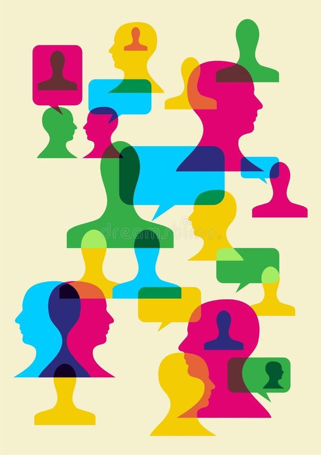 Símbolos sociais da interação ilustração do vetor