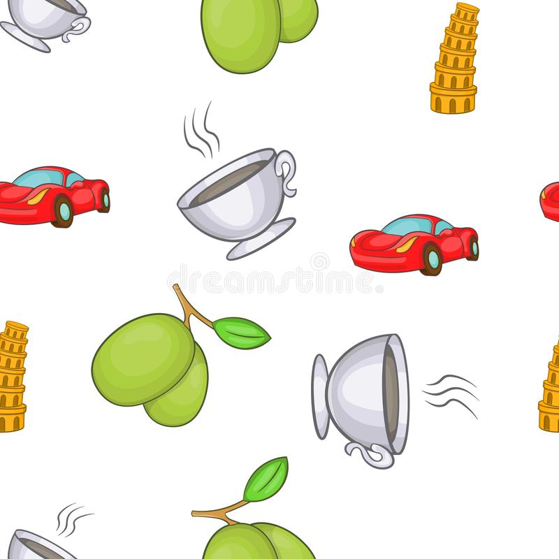 Símbolos teste padrão de Itália, estilo dos desenhos animados ilustração stock