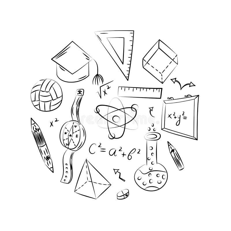Símbolos tirados mão da escola Desenhos da bola, livros das crianças, lápis, réguas, garrafa, compasso, setas arranjadas em um cí ilustração stock