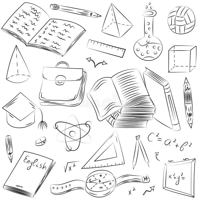 Símbolos tirados mão da escola Desenhos da bola, livros das crianças, Pensils, réguas, garrafa, compasso, setas ilustração stock