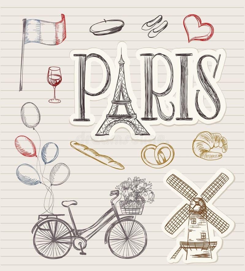 Símbolos tirados mão de Paris ilustração stock