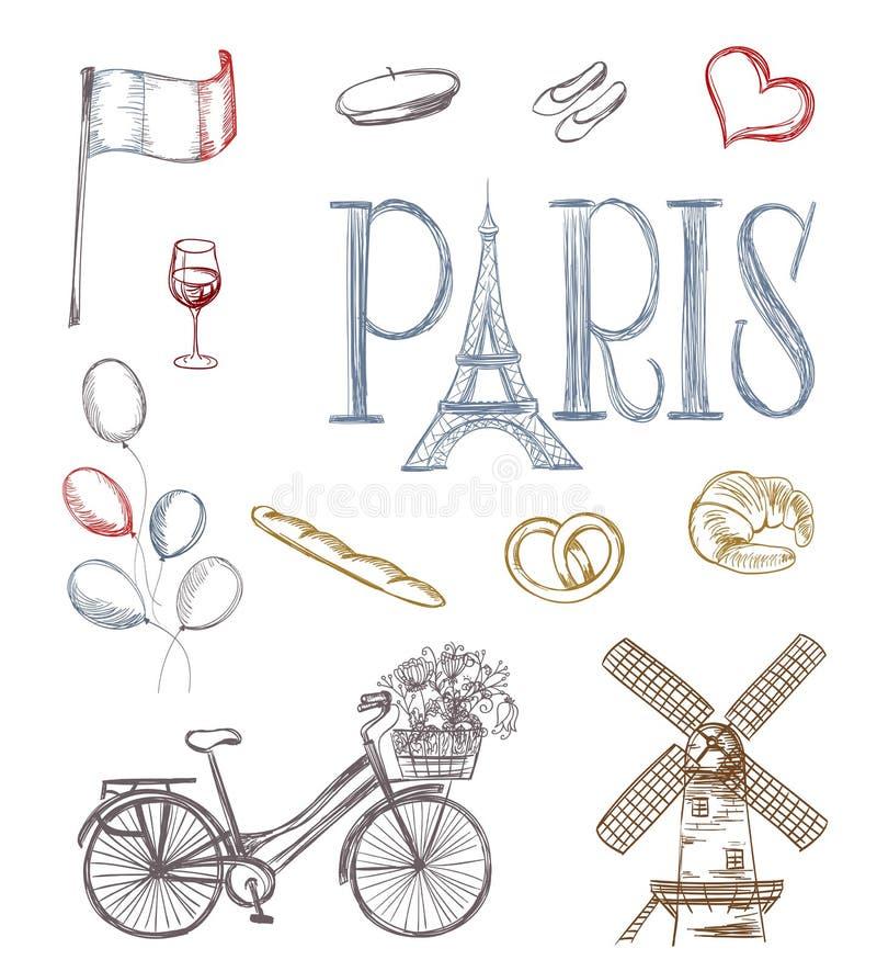 Símbolos tirados mão de Paris ilustração do vetor