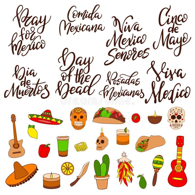 Símbolos tradicionais tirados mão Elementos do projeto sobre México Clipart da ilustração do vetor ilustração stock