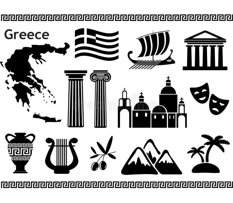 Símbolos tradicionales de Grecia stock de ilustración