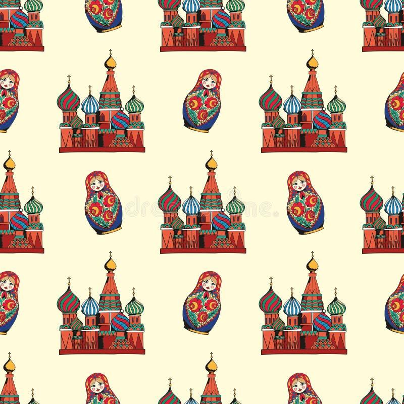 Símbolos tradicionales de Rusia Gráfico de la mano Modelo inconsútil del vector para el diseño libre illustration