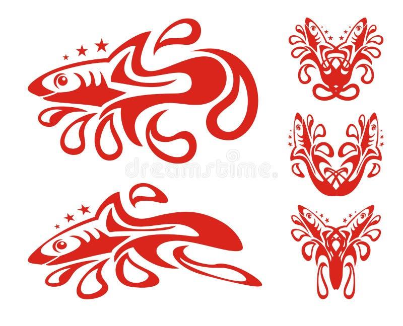 Símbolos tribais do tubarão com gotas ilustração royalty free