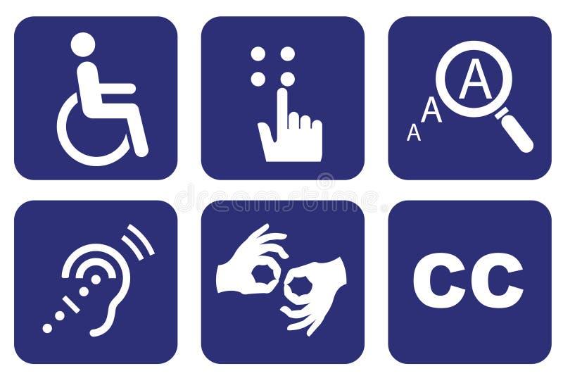 Símbolos universais da acessibilidade ilustração do vetor